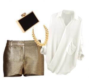 Outfit Elenovario negro y oro